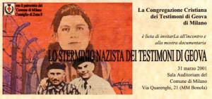 Locandina mostra Sterminio Nazista dei T. G. presso CDZ 8.